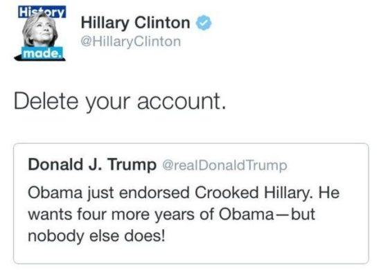 @HillaryClinton/Twitter via REUTERS