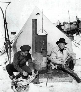 Hurley and Shackleton in camp (Shackleton is on the right)
