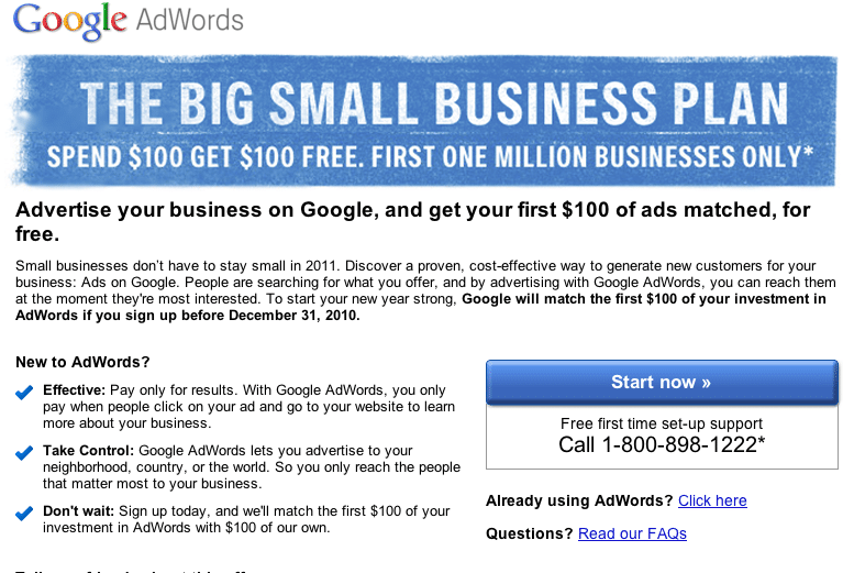 Small Business Tip: Get $100 AdWords Credit From Google