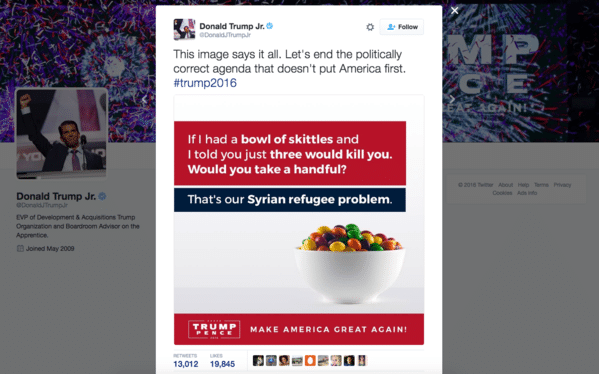 la-na-trailguide-donald-trump-jr-s-tweet-about-refugees-and-skittles-20160920