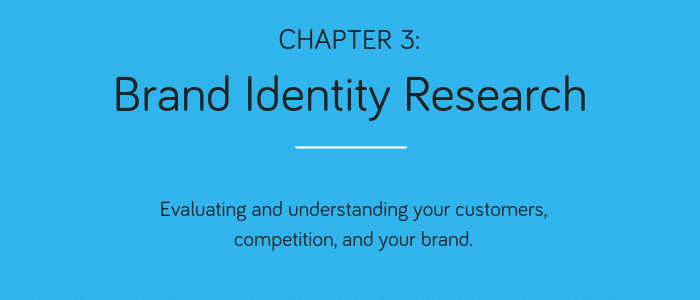 Chapter 3: Brand Identity Research. Evaluating and understanding your customers, competition, and your brand.